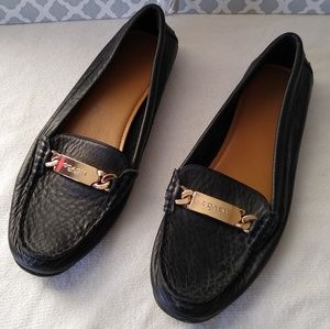 Coach black leather loafers flats size 7